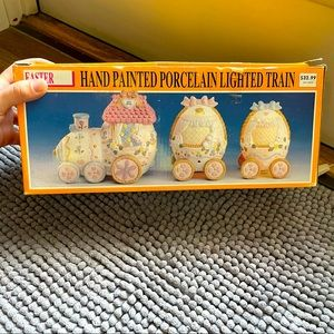 Easter Hand Painted Porcelain Lighted Train